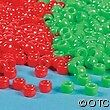 100 Christmas Plastic Pony Beads Red Green Holiday Kids