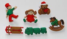 Christmas Toys / Jesse James Dress It Up Holiday Buttons / Sled ~ Train ~ Doll