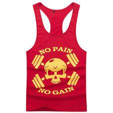 Sz M Red Men GYM Workout Muscle Tank Top Stringer Bodybuilding Vest Y-Back Shirt