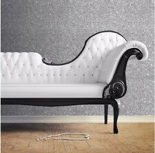 Debona Luxurious Starlight Plain Glitter Texture Silver 10m Wallpaper Roll 9070