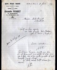 """LE PEU-du-BOUEX / PREVERANGES (18) EPICERIE MERCERIE BONNETERIE """"A PASQUET"""" 1929"""