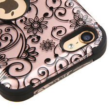 FOR APPLE IPOD TOUCH 5 6 5TH 6TH GEN ROSE GOLD CLOVERS SHOCK TUFF CASE COVER