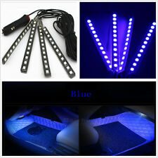 4 Pcs 12 LED Blue Car Foot Well Interior Trim Floor Decorative Atmosphere Light