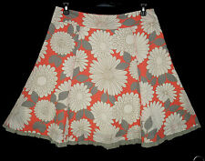 Boden Skirt 12 A-line Floral Daisy Print Cotton Trimmed Multi Summer