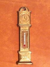 Vintage Brass Grandfather Clock Wall Thermometer ENGLAND