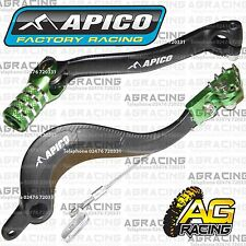 Apico Black Green Rear Brake & Gear Pedal Lever For Kawasaki KXF 450 2009-2015