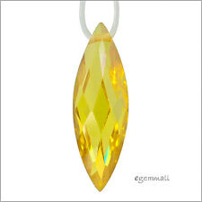 2 Cubic Zirconia Marquise Earring Pendant Beads 6x18mm Citrine Yellow #64976