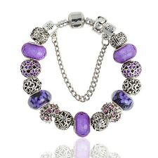 Antique Silver Plated Charm Bracelet W/Purple Glass Beads -18 cm