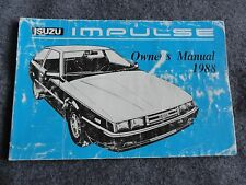 isuzu impulse manuals literature 1988 isuzu impulse owners manual