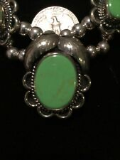 Native OLD COIN Silver (.720) & Genuine LIME GREEN Turquoise Squash Blossom,SIGD