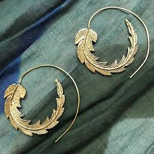 Feather Tribal Spiral Earrings in Brass