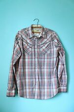 Guess Vintage style western plaid snap button shirt / mens large