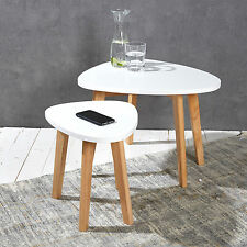Set of 2 side tables white ecru occasional tables coffee tables retro style