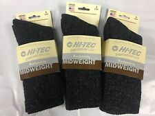 3 Pair Hi-Tec Mid-Weight Hiker Crew Backpacking Sock with Merino Wool Black Lg