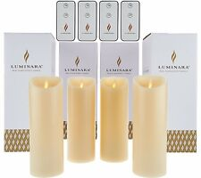 """Set of 4 Luminara 8"""" Flameless Candles with 4 Remotes and Gift Boxes Ivory"""