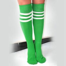Lady Soft Stripe Over Knee High Socks Football Sport Referee Fancy Cotton Socks