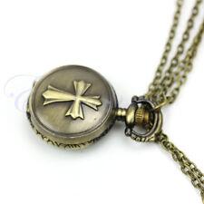 Antique Bronze Cross Pendant Chain Necklace Taschenuhr Pocket Watch New Gift