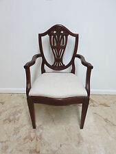 Antique Inlaid Solid Mahogany Chippendale Lyre Back Arm Chair Reproduction