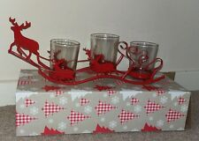 "Scandi-Style Iron Tealight Red Sleigh 12""x4.5""x3"" with 3 glass Holders"