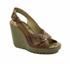FLY LONDON PAROL CAMEL LEATHER PLATFORM WEDGE SLINGBACK SANDALS UK 4 /37 RRP £85