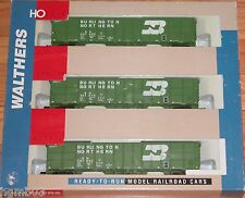 WALTHERS 932-34052 61' WOOD CHIP CAR 3-PACK BURLINGTON NORTHERN BN