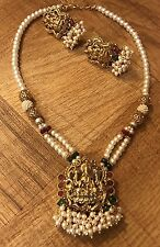 New Indian Ethnic Temple Jewelry Gold Plated Laxmi Pearl Ruby Green Necklace
