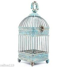 Gorgeous Antique Blue Square Iron Bird Cage. Shabby-chic Home Decor On Sale!