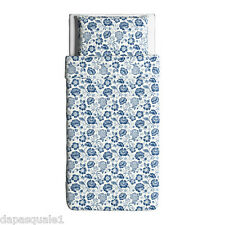 IKEA ANGSORT - Duvet Cover and Pillowcase Twin Linen White Blue Floral