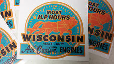 Wisconsin (most H.P. hours) stationary engine decal vintage