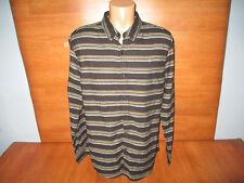 New Mens Size Large L Structure Black Striped Flannel Shirt Slim Fit