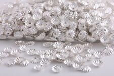 1000 pcs 6mm silver plated flower beads caps spacer findings charms