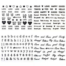12Sheets/Set 3D Nail Art Stickers Black Love Letter Heart Patterns Decals Tips