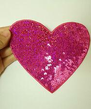 4 grandi rosa amore cuore toppa paillettes applicazione termoadesivo cucire