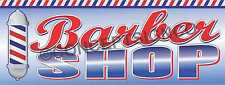 3'x8' BARBER SHOP BANNER Signs LARGE Pole Haircuts Razor Shave Mens Salon Trim