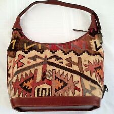 YUN Art Kilim Rug Wool Leather Purse Hand Woven Shoulder Bag Tote Turkey VTG EUC