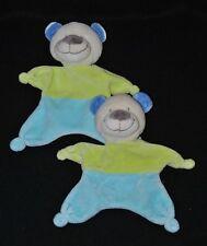 Lot 2 peluche doudou ours beige plat NICOTOY vert bleu oreilles bleues TTBE
