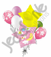 7pc Hey Diddle Cow Moon Baby Girl Balloon Bouquet Party Welcome Home Shower Pink