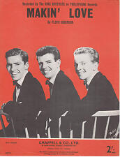 Makin' Love - The King Brothers  - 1959 Sheet Music