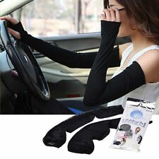 Fashion Women Lady Black Extra Long Arm Warmers Fingerless Gloves UV  Sunscreen