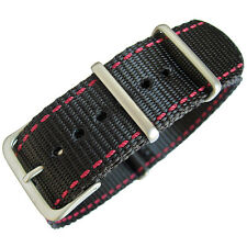 22mm Hadley-Roma MS4220 Black Nylon Red Stitch Military MoD G10 Watch Band Strap