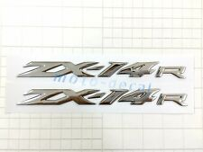 A pair ZX-14R Raised 3D Chrome Silver Decal Emblem Sticker For Ninja ZX14R Bling