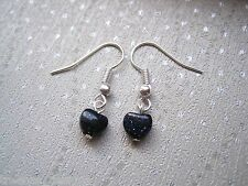 MIDNIGHT BLUE GOLDSTONE TINY HEART Sparkle Gemstone Drop Earrings cute Gift Bag