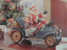Grandeur Noel Porcelain Santa Claus On Wheel Antique Car Collector Edition 2003