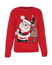 Womens ladies red UGLY Christimas sweater Santa Reindeer size M L NWT Red
