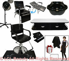 Salon Package Barber Chair Mat Wall Mount Station Shampoo Bowl Dryer Equipment