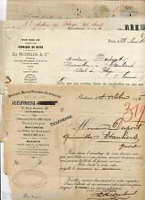 Lot de 3 factures timbrées 1886-1895 et 2 mandats bancaires 1900 Gironde Landes