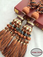 "11"" Luxury Curtain Drapery Tassel Tieback Holdback Large ORANGE BLUE BROWN Beads"