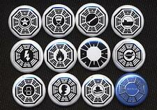 LOST DHARMA TWELVE  badge button pins SET TWO  - COOL!