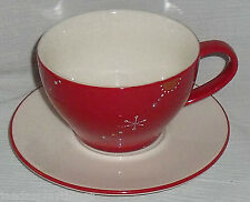 Starbucks Mug Cup + Saucer Set 12 Oz Red Holiday 2006 Snowflake