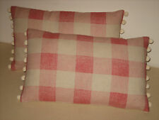 "NEW Kate Forman Pink Check Linen Fabric 20""x12"" Pom Pom or Piped Cushion Cover"